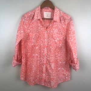 SONOMA Peach Button Down Cotton Spring Blouse